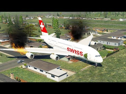 A380 Swiss Air Fire Engine Crash When The Kid In The Cockpit | X-Plane 11