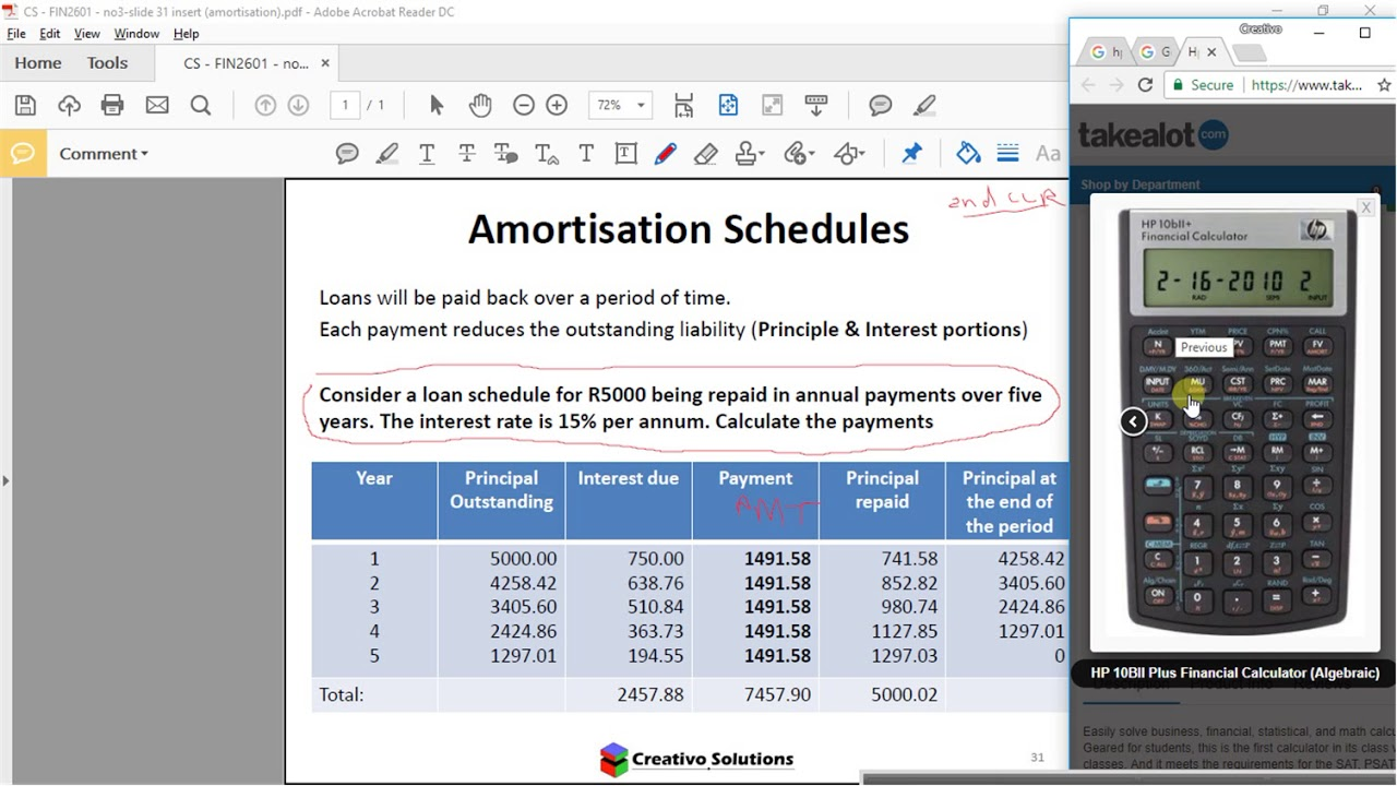 financial calculator hp10b ii plus loan amortization youtube