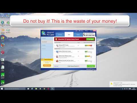 Advanced PC Care virus removal video