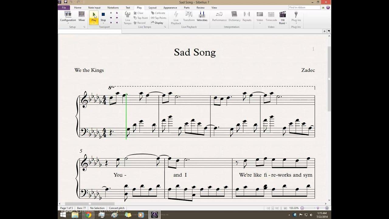 Sad song we the kings ft elena coats piano by zadec youtube hexwebz Gallery
