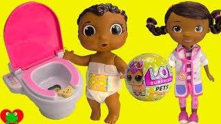 Doc McStuffins Potty Trains Baby Cece with LOL Surprise Pet