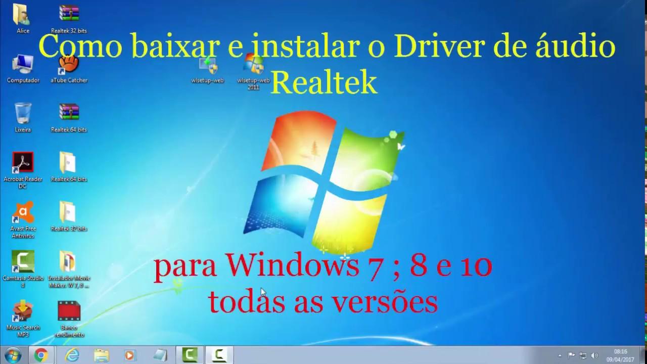 Baixar e instalar o driver de áudio realtek. P/ win. 7 ; 8 e 10.