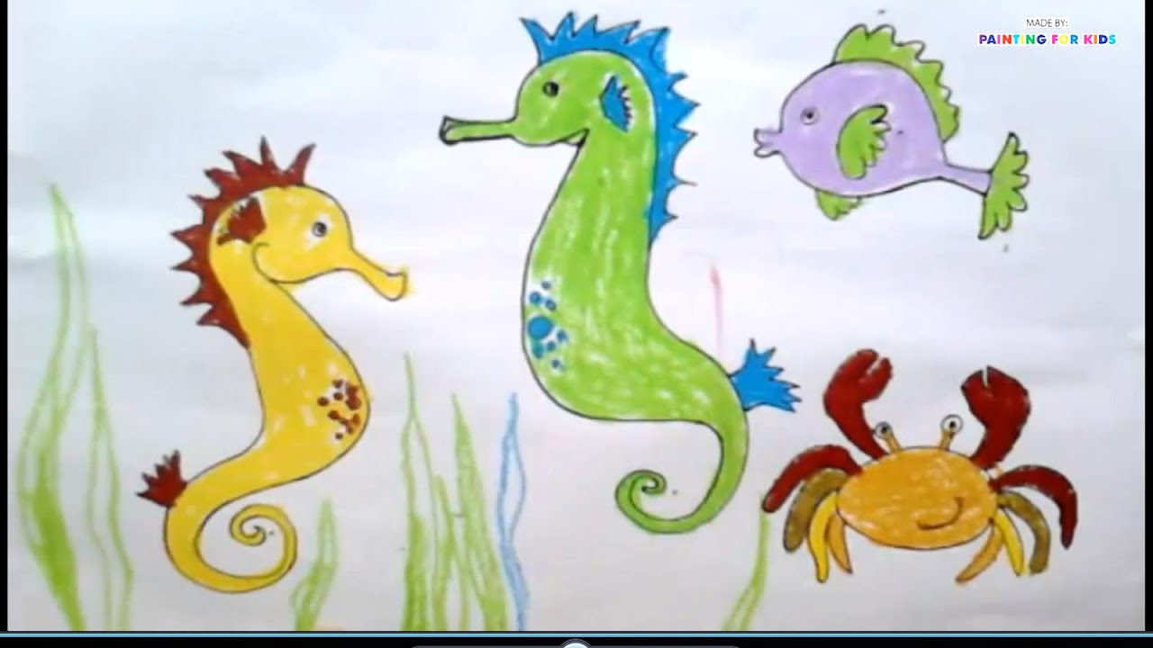 painting for kids animals how to draw seahorses for kids how to paint a seahorse art for kids - Drawing And Painting For Kids
