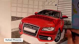 Realistic car drawing - Audi A4 Quattro [Timelapse]
