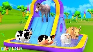 Learn Farm Animals Play With Giant Inflatable Water Slides for Kids | Cow Play with Pool slide