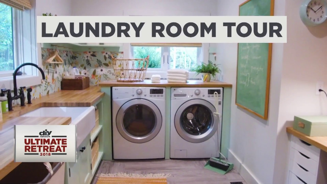diy network ultimate retreat 2018 laundry room tour youtube. Black Bedroom Furniture Sets. Home Design Ideas