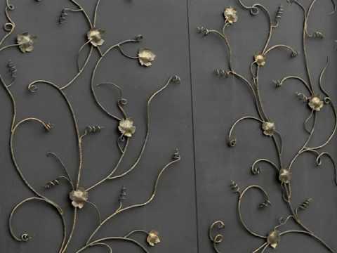 Каким цветом покрасить ворота дома, коричневый цвет вариант покраски кованых ворот из металла дизайн