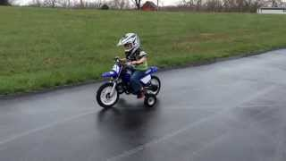 4yrs old Ryder Farley riding his Yamaha PW50 dirt bike with training wheels