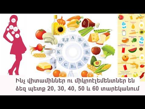 Ինչ վիտամիններ ու միկրոէլեմենտներ են ձեզ պետք 20, 30, 40, 50 և 60 տարեկանում