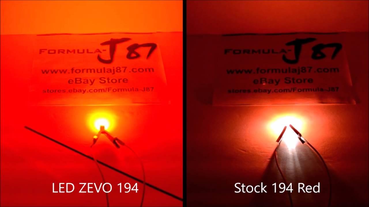 Osram Sylvania LED ZEVO 194R 194 168 2825 T10 Red 0 7W Review Test vs  Incandescent Stock 5W