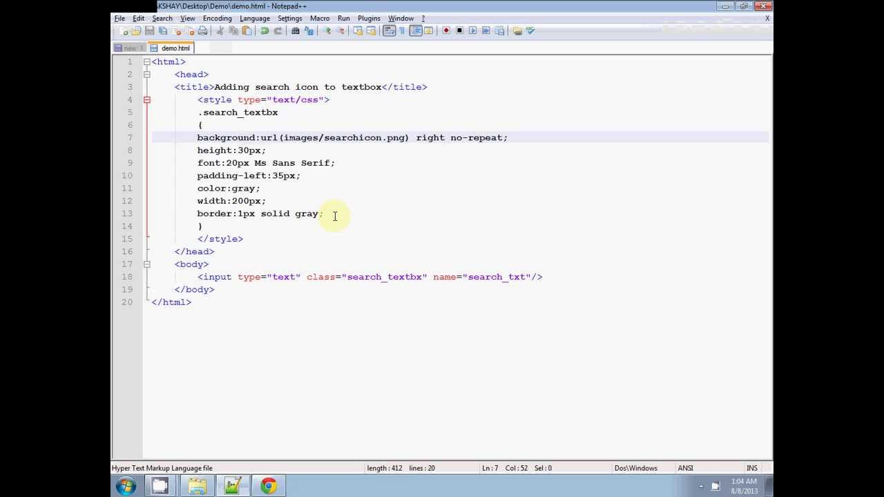 How To Add Icon To Textbox In Html Adding Icon Into Textbox Using Css Youtube