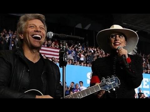 Lady Gaga Bon Jovi Duet Living On a Prayer At Hillary Clinton Raleigh Rally (11/7/2016)