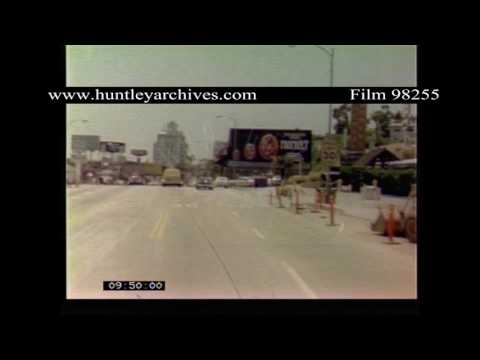 Los Angeles roads, 1970's.  Point of view from car.  Archive film 98255