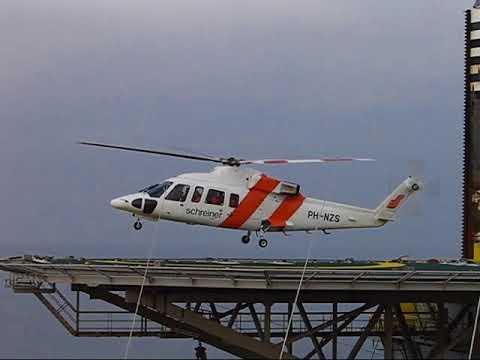 Offshore Project TOTAL platform, heli leaving for Den Helder Airport