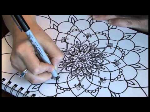 cr ations jo lle mercier dessin fleur style mandala 9161 youtube. Black Bedroom Furniture Sets. Home Design Ideas