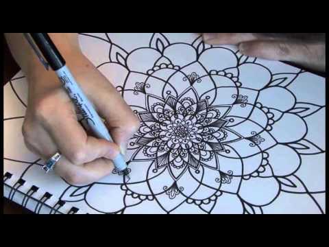Cr ations jo lle mercier dessin fleur style mandala 9161 youtube - Dessins de mandala ...