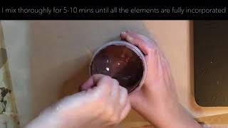Mixing up a chocolate brown acrylic pouring paint