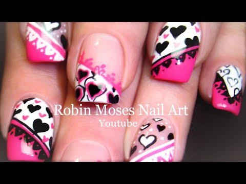 Best valentine nails pink black white hearts mixed nail art designs