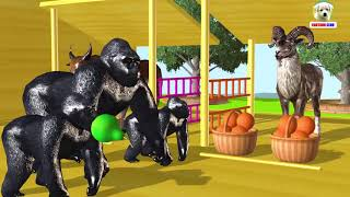 Learn Colors Animals with Wrong Fruits Basket Color in the Market Cartoon for Children