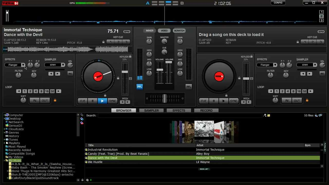 Virtual dj home free edition 7. 0. 5 yuo send it.