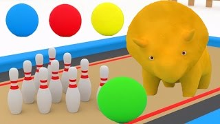 LEARN COLOURS & NUMBERS with DINO the DINOSAURS playing BOWLING - Cartoon for children and KIDS