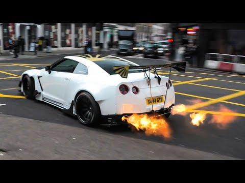 Huge FLAMES* Rocket Bunny Nissan GTR In London!