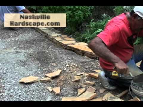 Beatuiful Flagstone Garden Border Tan Mortared Small Wall Nashville Franklin Bwood Tn