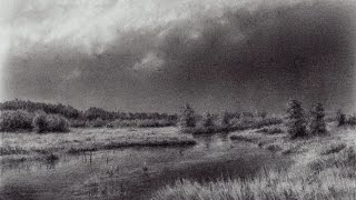 Drawing a River and Thunderclouds with a Pencil | Time Lapse