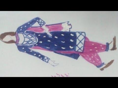 fashion illustration.How to draw salwar kurta.Indopak most Popular dress.