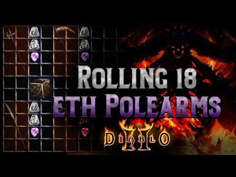 How hard is it to roll 4 open sockets to make the runeword Infinity? 18 eth polearm bases - Diablo 2