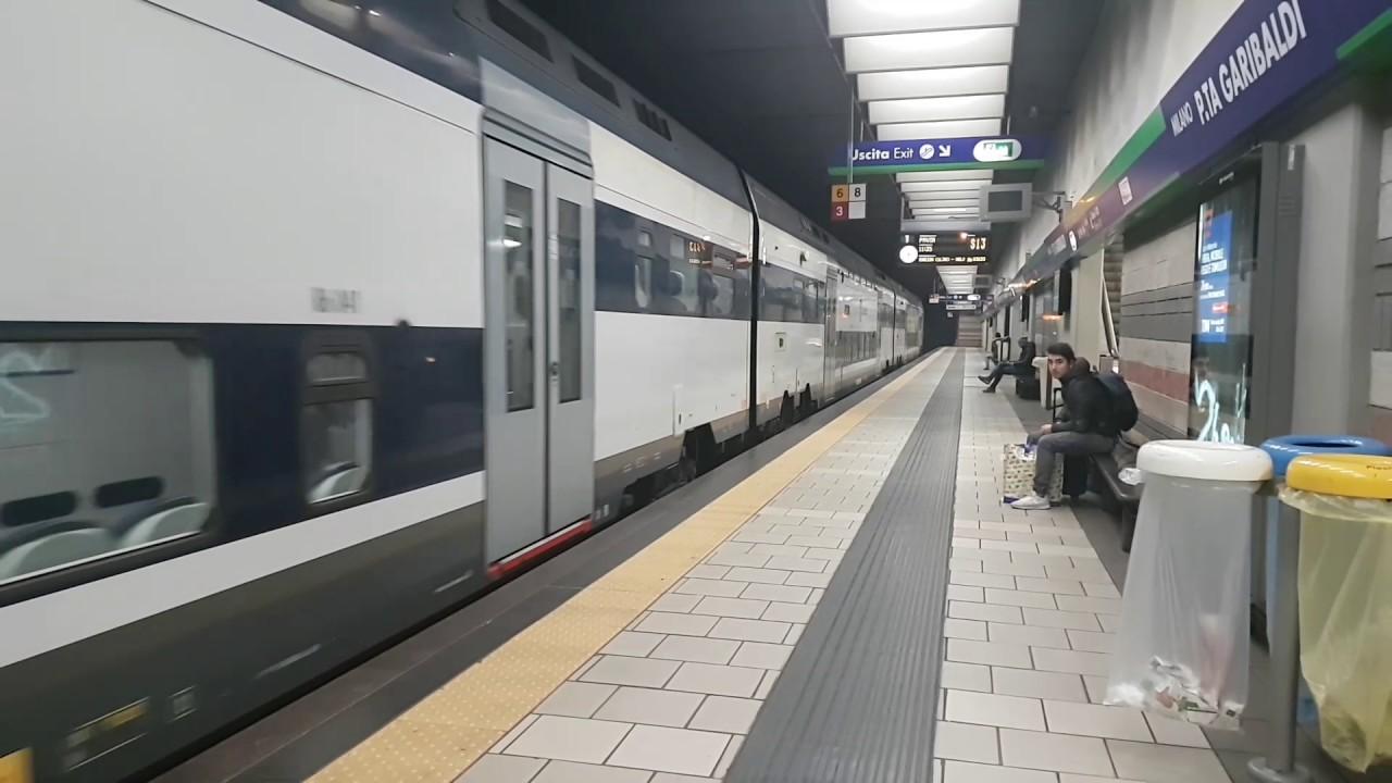 Trenord lenord livery tsr emu train leaving milan porta - Trenord porta garibaldi ...