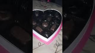 Jenna opening her Valentines Day Chocolates