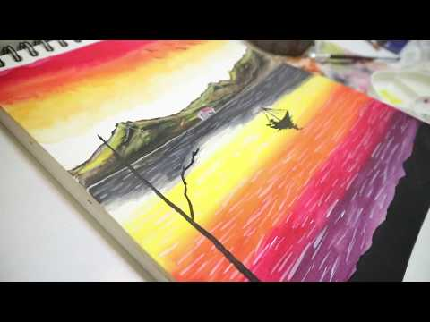 SUNSET LANDSCAPE WATERCOLOR PAINTING ART #KTArt