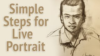 Simple steps for live portrait drawing in 10 minutes