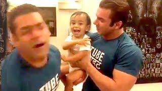 Salman Khan Slapped 10 Times By Arpita Khan's CUTE Son Ahil INSIDE Bandra House Galaxy Apartments