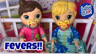 Baby alive mix my medicine twins have a fever bath time and making them feel better