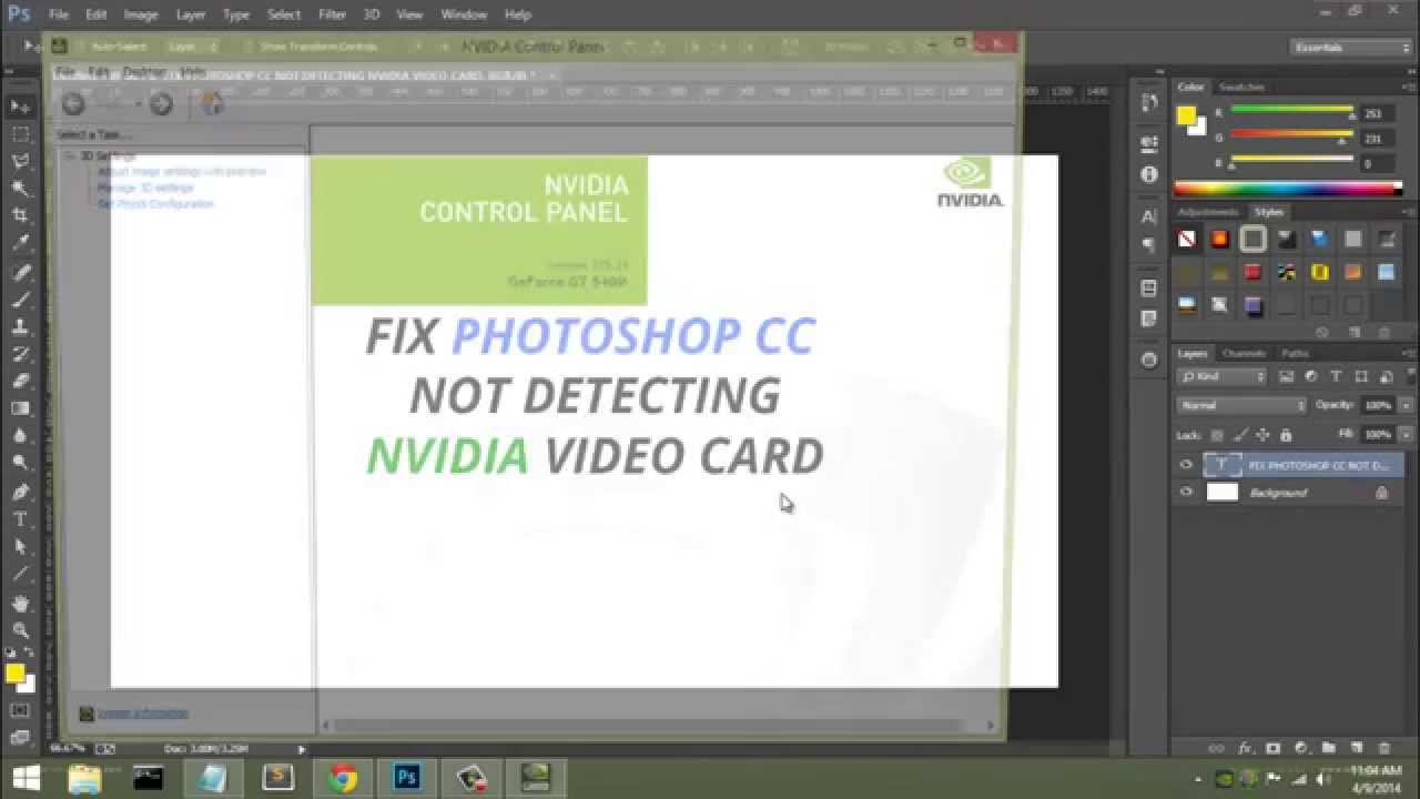 Fix Photoshop CC not detecting nVidia GeForce