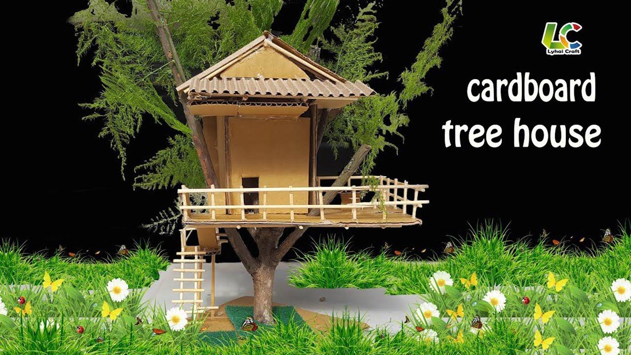 How To Make Cardboard Tree House Diy Paper Tree House Youtube