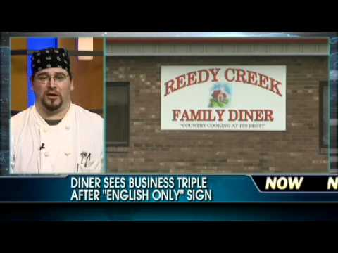 'English Only' Sign Triples Diner's Business