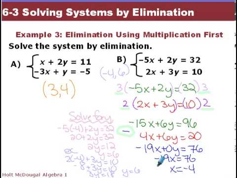 algebra 1 6 3 solving systems by elimination youtube. Black Bedroom Furniture Sets. Home Design Ideas