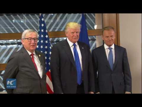 Donald Trump visits EU HQ in Brussels