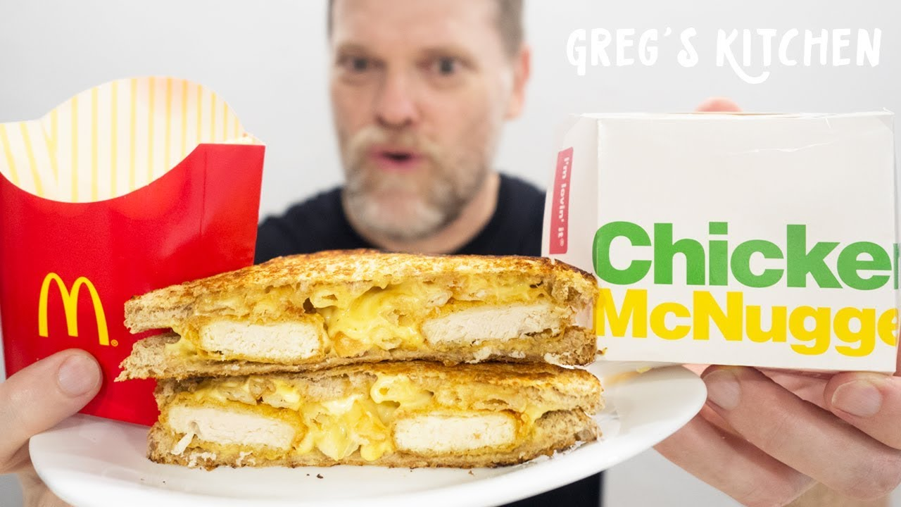Making A Cheesy Mcdonalds Nuggets And Fries Toasted Sandwich Gregs Kitchen