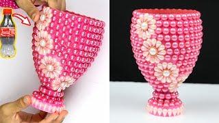 How to make a plastic bottle flower vase for home decoration | Plastic Bottle Craft