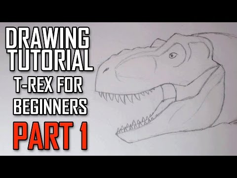 Learn how to Draw a Jurassic Park Trex Head for Beginners. Tutorial Part 1