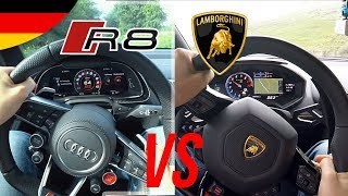 AUDI R8 gegen Lamborghini Huracán + Sound/Beschleunigung