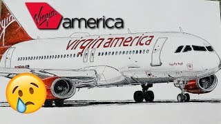 TRIBUTE TO Virgin America || Airbus a320 speed drawing