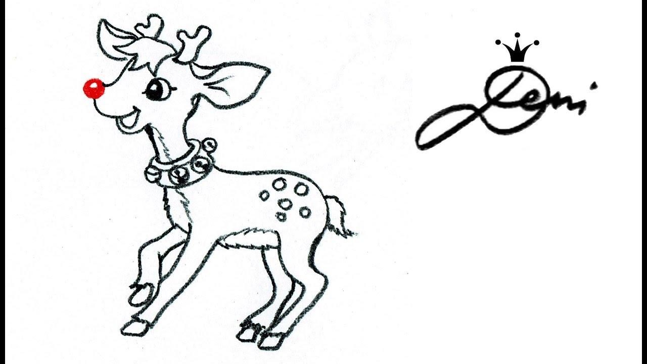 Rentier zeichnen 🦌Rudolph mit der roten Nase🦌 How to Draw a ...