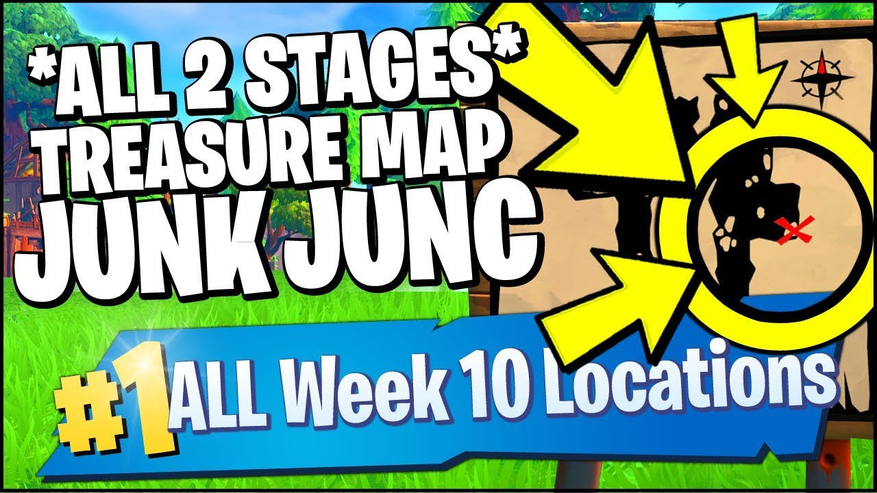 search the treasure map signpost found in junk junction stage 1 2 fortnite week 10 challenges - fortnite junk junction treasure map signpost