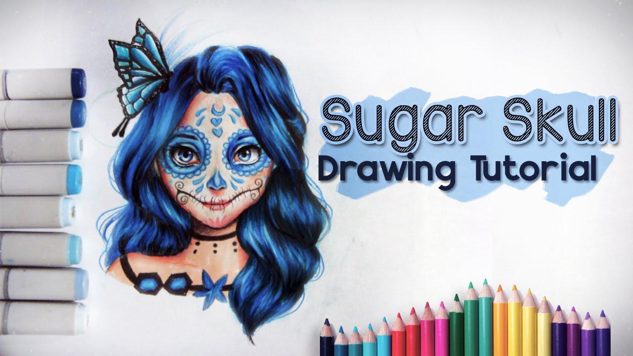 sugar skull drawing tutorial �� youtube
