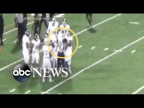 College Football Player Punches Referee